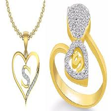 s ring buy kanak jewels combo of initial letter s with heart s ring
