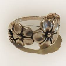 flower band 3 plumeria flower ring silverbotanica handmade jewelry