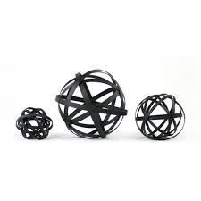 Decorative Spheres For Bowls Black Metal Sphere Set Decorative Metal Orbs Set Of Threeplatt