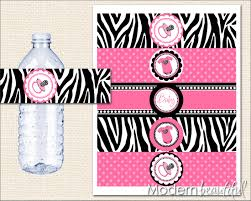 zebra baby shower hot pink and black zebra baby shower water bottle labels