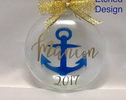 Etched Glass Ornaments Personalized Navy Ornaments