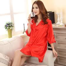 elderly nightgowns 2017 new silk satin nightgown half sleeve nightdress v neck