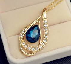 crystal drop pendant necklace images New fashion jewelry set gold color crystal drop pendant necklace jpg