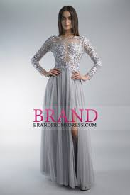 2016 long sleeves prom dresses bateau with slit and embroidery