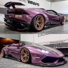 lamborghini purple purple liberty walk huracan spyder joined by gold widebody mini