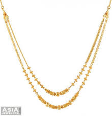 double gold necklace images 22kt layered chain ajch52392 22k gold fancy double layered jpg