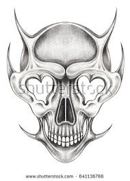 skull devil tattoohand pencil drawing on stock illustration