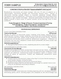 construction project manager sample resume fantastic construction