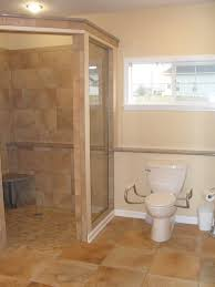 Tile Master Bathroom Ideas by Bathroom Terrific Single Glass Divider Shower Room With Brown