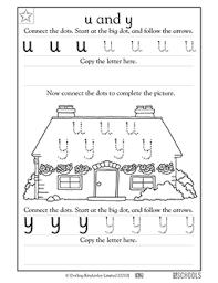 kindergarten preschool reading writing worksheets lowercase u