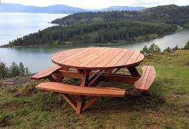 Umbrella Table Lazy Susan by Round Wooden Picnic Table With Attached Benches