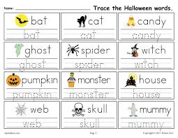 free printable halloween words tracing worksheet