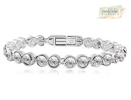 swarovski white bracelet images Athenafashion 18k white gold overlay tennis bracelet with clear jpeg
