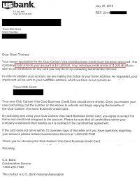 us bank club carlson biz approval letter