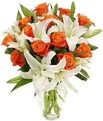 roses and lilies benchmark bouquets orange roses and white