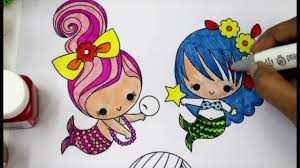 coloring cute and colorful mermaids cute coloring pages for kids