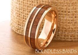 Wood Wedding Rings by Hawaiian Koa Wood Inlay Ring Rose Gold Tungsten Ring Wood Wedding