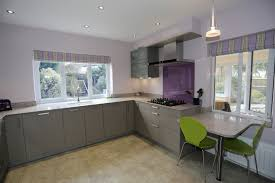 Gray Kitchens Pictures Contemporary Modern Shiny Grey Kitchen With Purple Splashback And