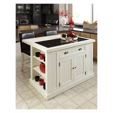 beadboard textured white portable kitchen island with seating and