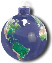 earth ornament glass with earth continents