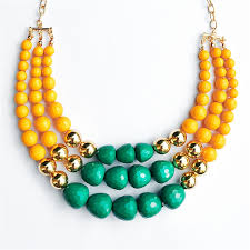 chunky bead necklace images Multi strand bead necklace chunky bib necklace in yellow green jpg