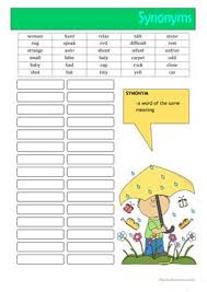 65 free esl synonyms worksheets