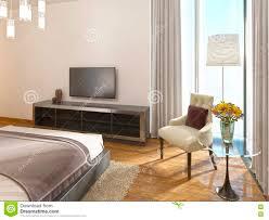 modern tv unit in a hotel room of art deco stock illustration