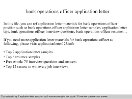 Resume Application Letter Sample by Bank Operations Officer Application Letter