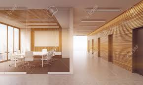 Glass Wall Doors by Meeting Room In Modern Office Interior With Glass Wall Table
