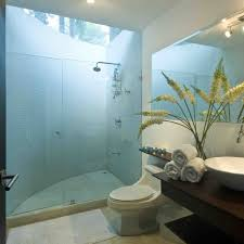modern minimalist beachy bathroom design with folding table under