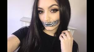 Half Skull Halloween Makeup by Skull Teeth Halloween Makeup Tutorial Youtube