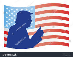 Juneteenth Flag Donald Trump Silhouette Portrait On American Stock Vector