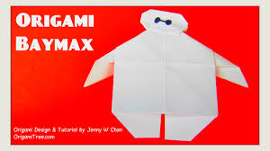 origami baymax from disney big hero 6 paper crafts for kids easy