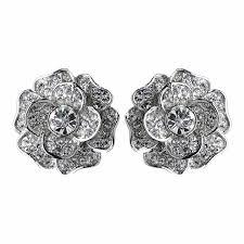 clip on stud earrings clear cz clip on stud earrings 82010