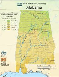 alabama zone map alabama zone map of usda planting zones