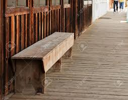 Rustic Bench Seat A Wood Bench Seat Is Located On A Old Wild West Themed Wooden