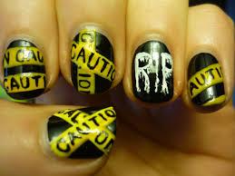 halloween nail art caution tape tutorial youtube