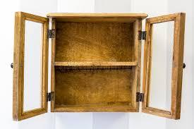 rustic wood display cabinet empty rustic wall mounted display cabinet horizontal stock photo