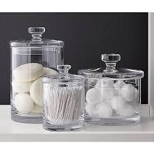 Bathroom Glass Storage Jars Glass Bathroom Jars With Lids Thedancingparent