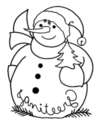 snowman near christmas tree coloring page winter coloring pages