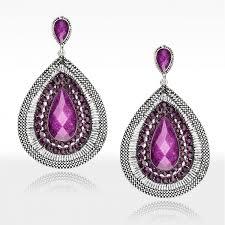 purple earrings purple rhinestone teardrop earrings vintage teardrop earrings purple v