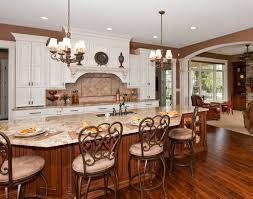 Pretty Chandeliers by Alluring Large Open Kitchen Features Rectangle Shape Dark Brown