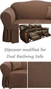 Sofa Cover For Reclining Sofa Dual Reclining Loveseat Slipcover T Cushion Twill Contrast Taupe