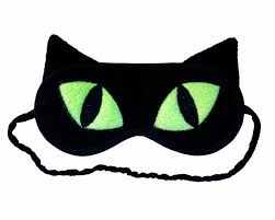 cat sleep mask black cat eye mask neon green eyes animal