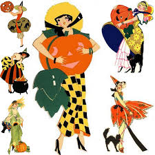 vintage halloween clip art jennuine by rook no 17 art deco halloween ladies bridge tally