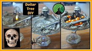 dollar tree diy halloween skeleton plate stand home decor youtube