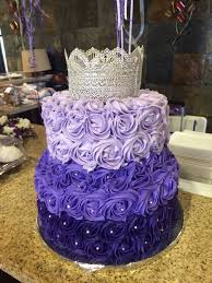purple ombre rosette cake with silver lace crown decorating tips