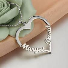 customized heart necklace heart name necklace 925 sterling silver