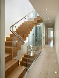 Glass Stair Handrail Glass Stair Railing Staircase Modern With Beige Wall Glass Railing
