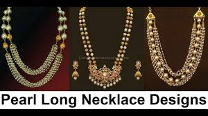 long necklace pearl images Muthyala haram designs traditional pearl long necklace models jpg